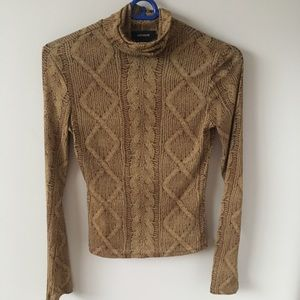 Brown long sleeve turtle neck top